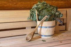 Sauna is healthy. / Finnish sauna with hot dry steam Royalty Free Stock Photography