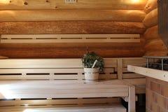Sauna is healthy. / Finnish sauna with hot dry steam Stock Image