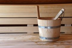 Sauna is healthy. / Finnish sauna with hot dry steam Stock Images