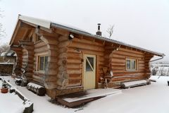 Sauna is healthy. Finnish sauna with hot dry steam.  stock photos