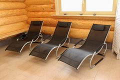 Sauna is healthy. /Lounges for relaxation in the sauna Stock Photos
