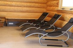 Sauna is healthy. /Lounges for relaxation in the sauna Stock Image