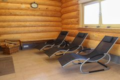 Sauna is healthy. /Lounges for relaxation in the sauna Stock Photo