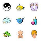 Sauna icons set, cartoon style Stock Photos