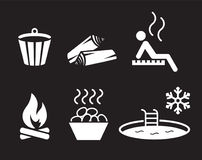 Sauna icons set Stock Photos