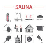 Sauna icons. Vector signs. For web graphics Stock Photography