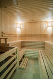Sauna. Image of wooden steam room with seats Royalty Free Stock Photography