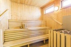 Sauna - intérieur d'un sauna finlandais de détente Photographie stock