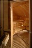 Sauna Interior. Doorway to the interior of a wooden sauna royalty free stock photography