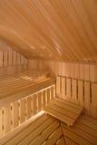 Sauna Interior. Interior of a wooden sauna stock photo