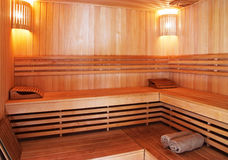 Sauna interior Stock Photos