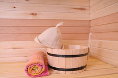 Sauna interior. Traditional sauna interior with natural wood planking Royalty Free Stock Photos