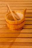 Sauna interior and accessories Stock Photo