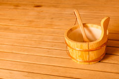Sauna interior and accessories Royalty Free Stock Photo