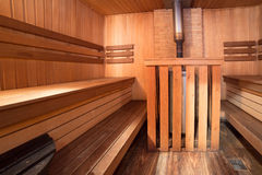 Sauna interior bath wooden room steam Stock Photography