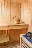 Sauna interior comfortable wooden room spa indoor details.  Stock Photos