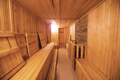 Sauna interior comfortable wooden room spa indoors Stock Photography