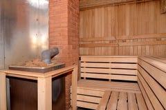 Sauna interior with the furnace Stock Photo