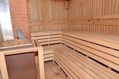 Sauna interior with the furnace Stock Image