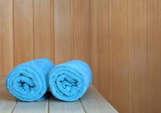 Sauna interior with green towels. Leaving room for typing stock photo
