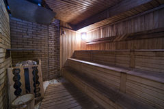Sauna interior with lamp light healthy leisure facilities Royalty Free Stock Images