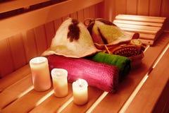 Sauna interior and sauna accessories Royalty Free Stock Photo