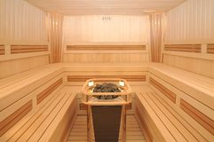 Sauna. Interior of wooden sauna cabin Stock Photography