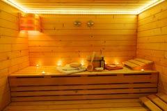 Sauna Interior. Wooden sauna interior at candlelight Stock Photography