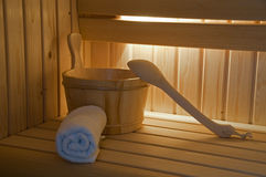 Sauna interiro with lights Royalty Free Stock Images