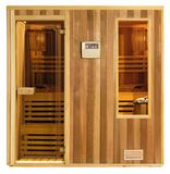 Sauna. Isolated image of small wooden sauna cabin Royalty Free Stock Photos