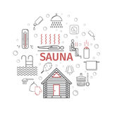 Sauna. Line banner. Vector signs Royalty Free Stock Image