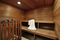 Sauna in luxury home Stock Image