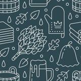Sauna, nahtloses Muster des Dampfbadezimmers mit Linie Ikonen Badezimmerausrüstungsbirke, Eichenbesen, Eimer, Bier finnisch Lizenzfreie Abbildung