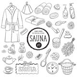 Sauna objects collection 01. Sauna accessories sketch. Hand drawn spa items collection. Doodle bathroom objects isolated on white background royalty free illustration