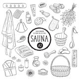 Sauna objects sketches collection 02. Sauna accessories sketch. Hand drawn spa items collection. Doodle sauna objects isolated on white background vector illustration