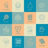 Sauna, parowego skąpania linii ikony Łazienki wyposażenia brzoza, dębowa brzoza, wiadro Hammam, japończyk infrared, finnish, rosy ilustracji