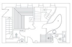 Sauna plan view with standard furniture symbols Royalty Free Stock Photos