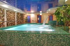 Sauna pool. With waterfall and palms indoor Stock Images