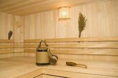 Sauna. Position, cuvette et poche photo libre de droits