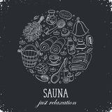 Sauna poster template. Sauna relaxation poster. Sauna accessories sketches in circle shape. Hand drawn spa items collection. Doodle sauna objects on chalkboard Stock Photo