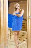 sauna ręcznika kobieta Zdjęcia Royalty Free