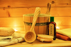 Free Sauna Relax Oil With Wooden Bucket And Ladle Royalty Free Stock Photos - 66831518