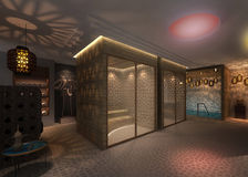 Sauna room. 3D rendering of a sauna room Royalty Free Stock Photography