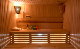 Sauna room with traditional Royalty Free Stock Image
