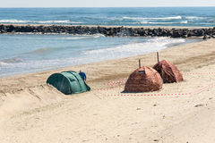 Sauna of Russian Extremals on the winter beach in Pomorie, Bulgaria Royalty Free Stock Photography