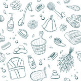 Sauna seamless background. Sauna seamless pattern from sauna accessories sketches. Hand drawn spa items background. Doodle sauna objects on white background stock illustration