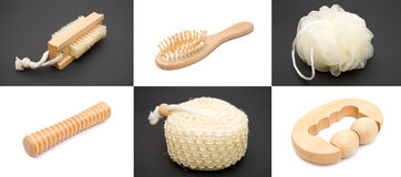 Sauna Set. Set of items for a sauna on a white and black backgrounds Royalty Free Stock Image