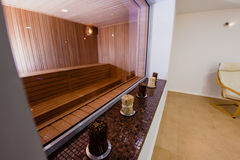 Sauna in a spa complex. Sauna as a part of the spa complex Royalty Free Stock Photos