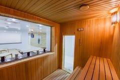 Sauna in a spa complex. Sauna as a part of the spa complex Stock Photos