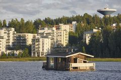 Sauna and spa cruise, Jyvaskyla city. Finland traditional lifest. Yle. Horizontal Royalty Free Stock Images